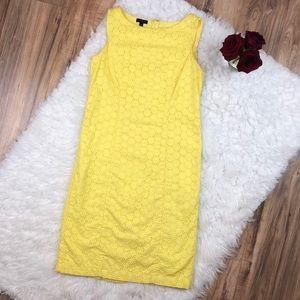 Talbots Sz 2p yellow eyelet midi dress